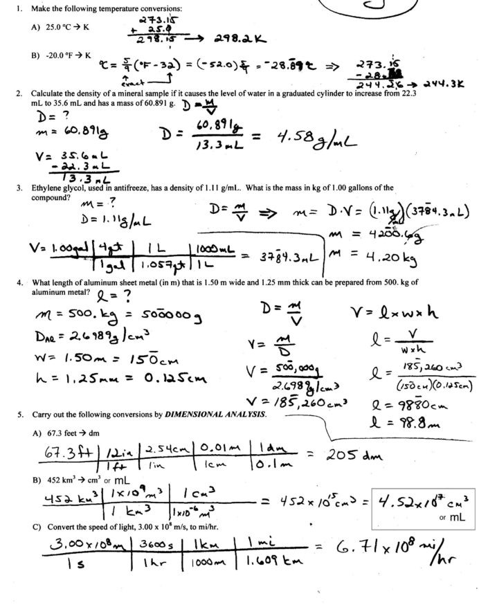 Density Worksheet Answer Key Density Worksheet with Answers Calculate Worksheets Answer