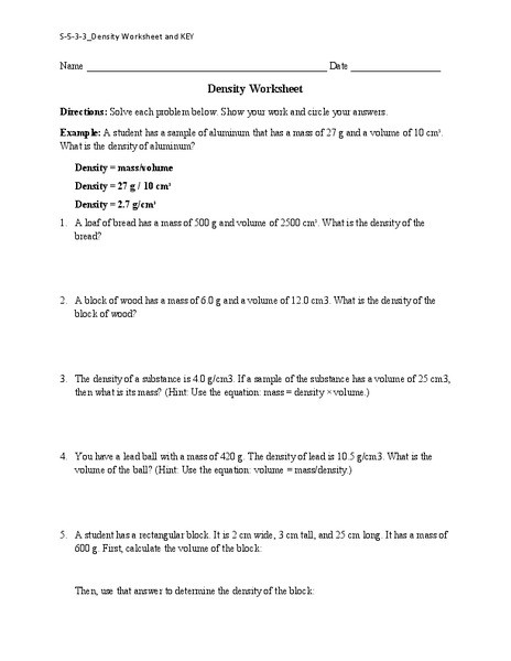 Density Worksheet Answer Key Density Worksheet Worksheet for 6th 8th Grade