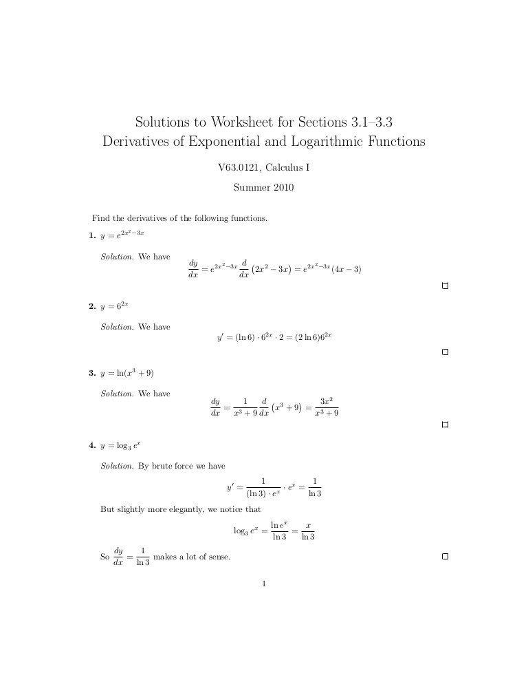 Derivative Of Trigonometric Functions Worksheet Lesson 8 Derivatives Of Logarithmic and Exponential
