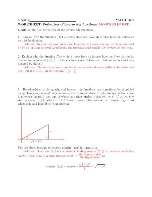 Derivative Of Trigonometric Functions Worksheet Name Math 1300 Worksheet Derivatives Of Inverse Trig Functions