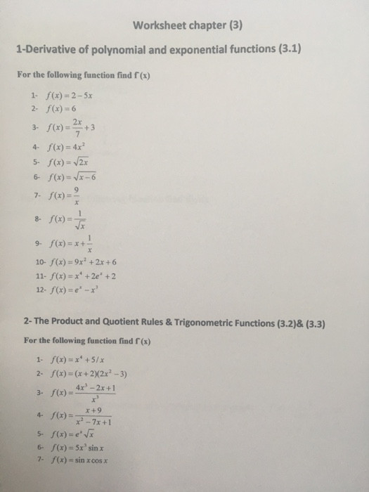 Derivative Of Trigonometric Functions Worksheet solved Worksheet Chapter 3 1 Derivative Polynomial A