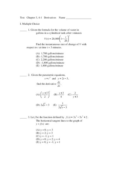 Derivative Of Trigonometric Functions Worksheet Twenty Multiple Choice and Free Response Derivative Problems