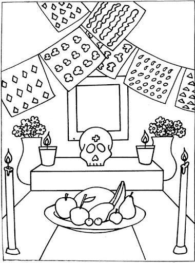Dia De Los Muertos Worksheet Day Of the Dead Altar Free Coloring Pages