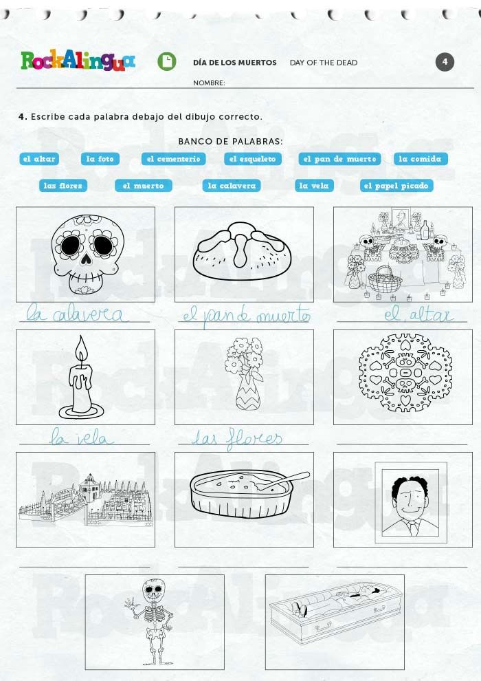 Dia De Los Muertos Worksheet Day Of the Dead Worksheet Rockalingua