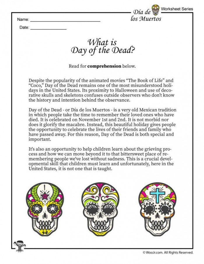 Dia De Los Muertos Worksheet Day the Dead History Worksheets