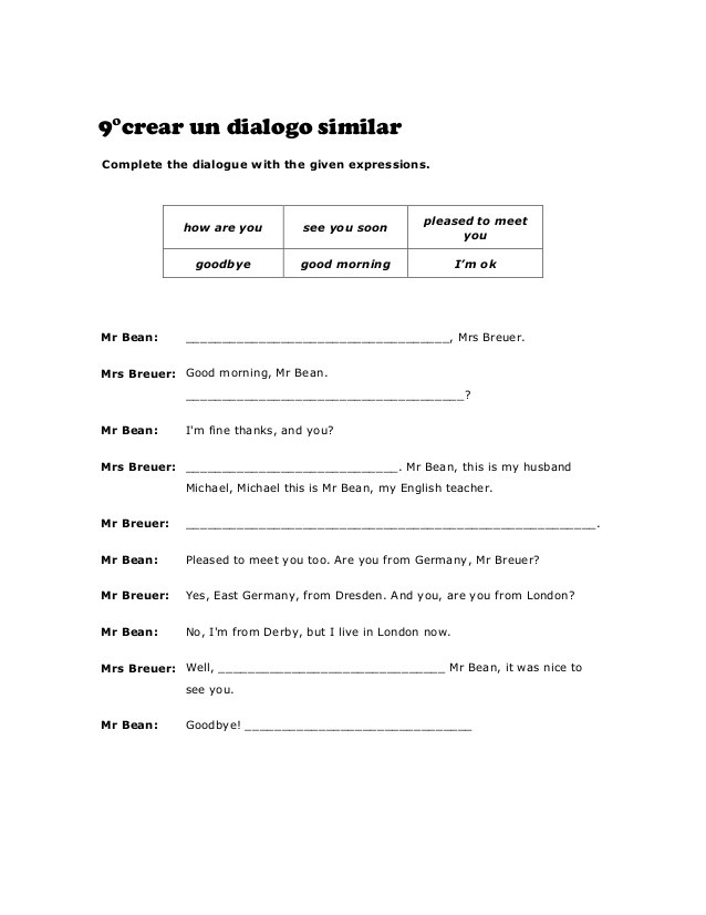 Dialogue Worksheets for Middle School 9° Worksheets