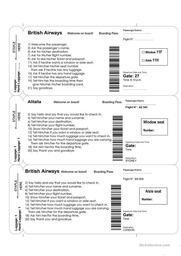 Dialogue Worksheets for Middle School at the Airport Role Play English Esl Worksheets for