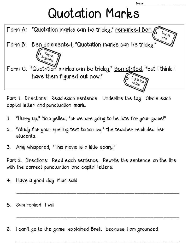 Dialogue Worksheets for Middle School Quotation Marks Anchor Chart with Freebie