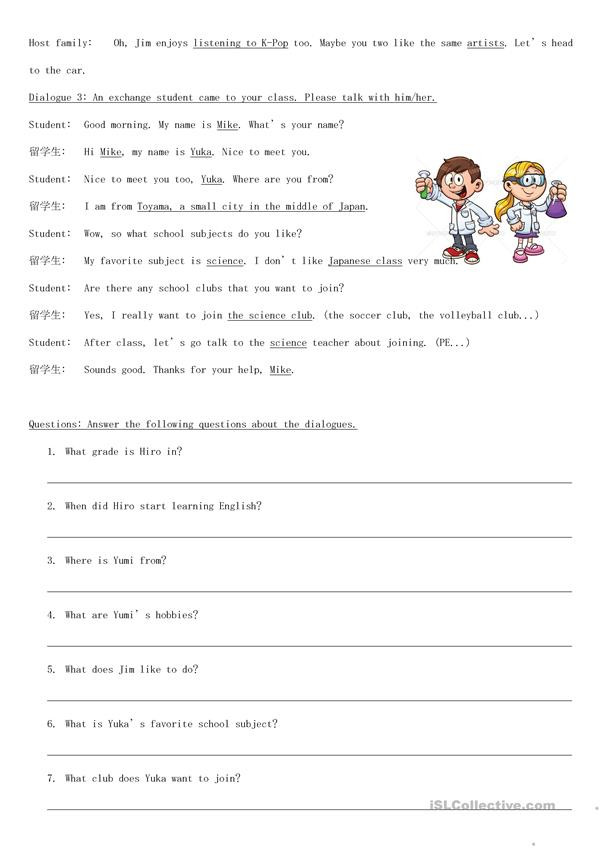Dialogue Worksheets for Middle School Self Introduction Situational Dialogues English Esl
