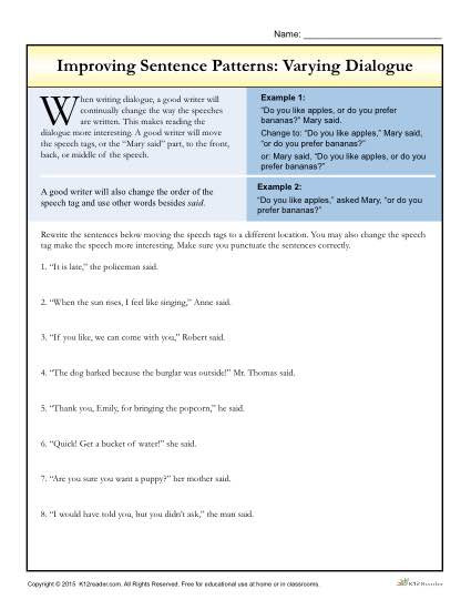Dialogue Worksheets for Middle School Sentence Patterns Varying Dialogue