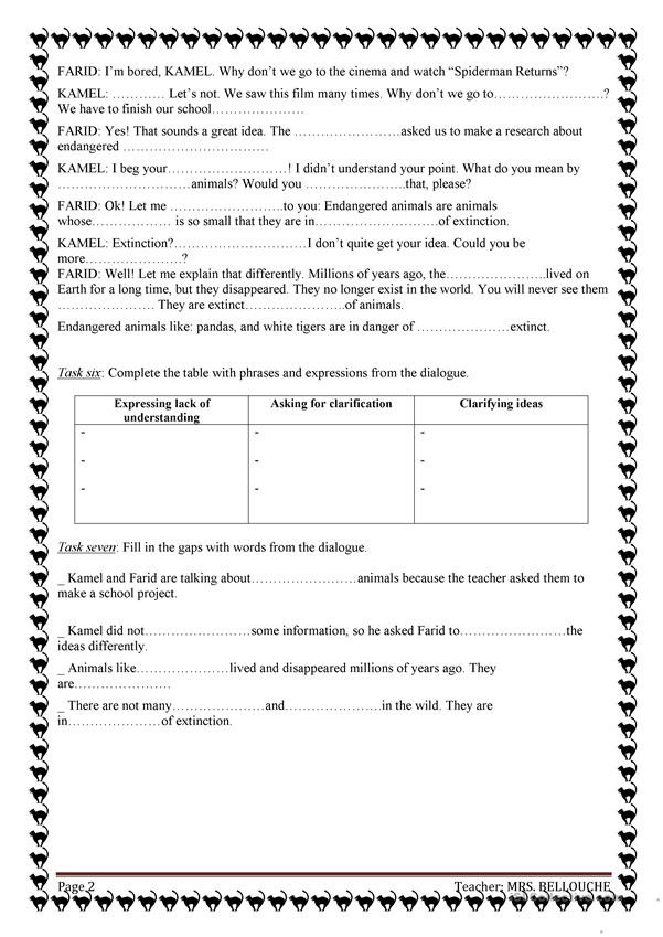 Dialogue Worksheets Middle School Endangered Animals English Esl Worksheets for Distance