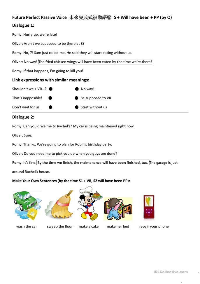 Dialogue Worksheets Middle School Passive Voice Future Perfect Dialogues and Practice