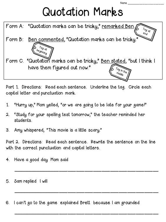 Dialogue Worksheets Middle School Quotation Marks Anchor Chart with Freebie