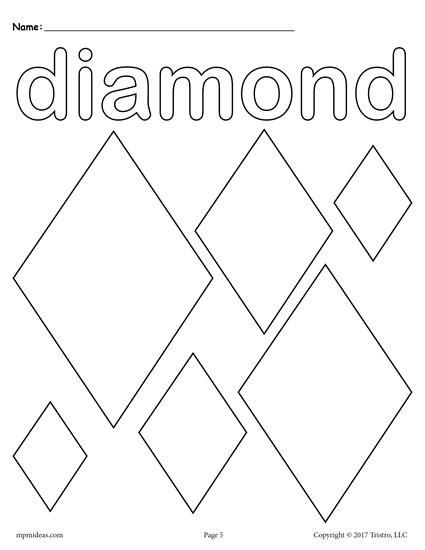 Diamond Worksheets for Preschool 12 Shapes Coloring Pages