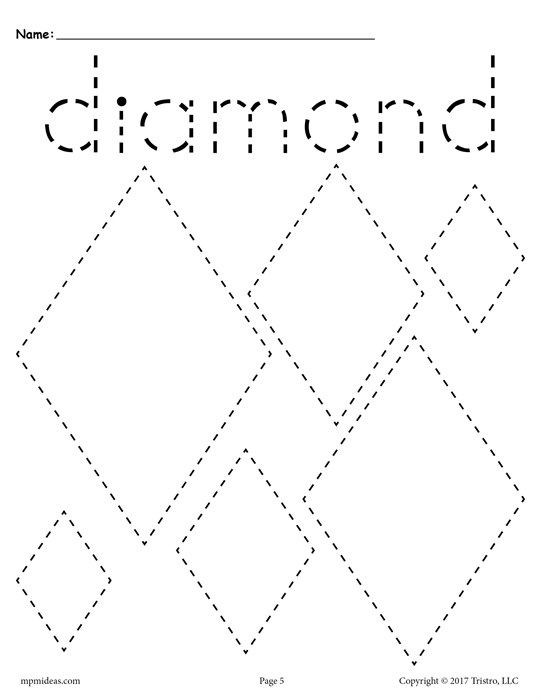 Diamond Worksheets for Preschool 12 Shapes Tracing Worksheets