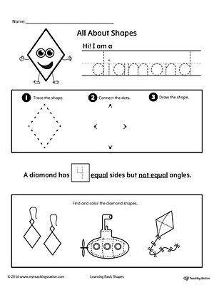 Diamond Worksheets for Preschool All About Diamond Shapes