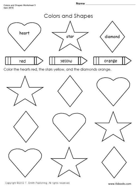 Diamond Worksheets for Preschool Colors and Shapes Worksheet 3