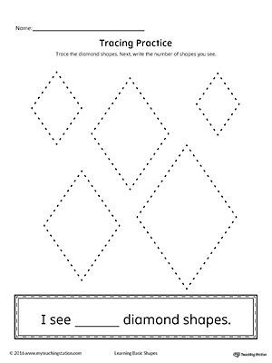 Diamond Worksheets for Preschool Geometric Shape Counting and Tracing Diamond