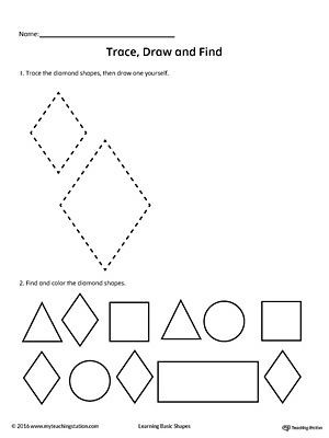 Diamond Worksheets for Preschool Trace Draw and Find Diamond Shape