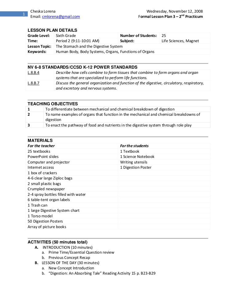 Digestive System Worksheet High School Practicum 2 Lesson Plan On Digestive System