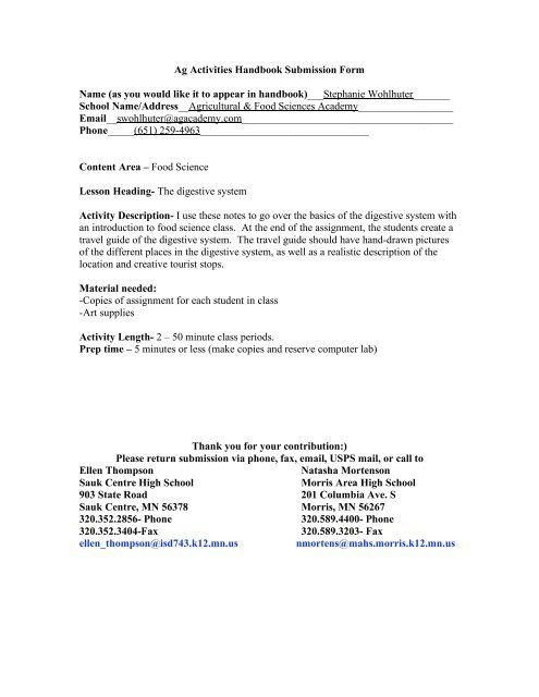 Digestive System Worksheet High School Trip Through the Digestive System Sauk Centre Public Schools