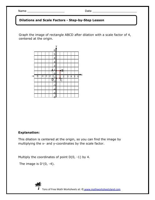 Dilations Worksheet Answer Key Dilations and Scale Factors Lesson Math Worksheets Land