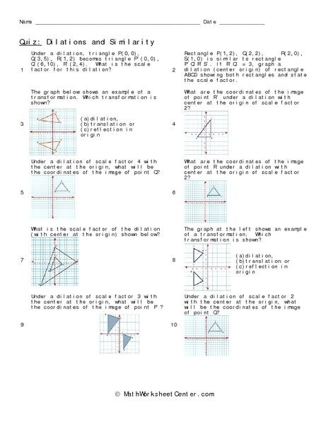 Dilations Worksheet Answer Key Dilations and Similarity Worksheet for 8th 10th Grade