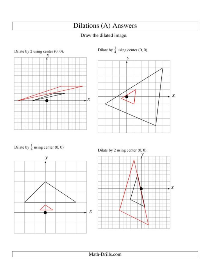 Dilations Worksheet Answer Key Dilations Using Center 8th Grade Math Worksheets 0center