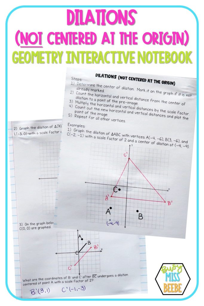 Dilations Worksheet Answer Key Geometry Interactive Notebook Similarity Busy Miss Beebe