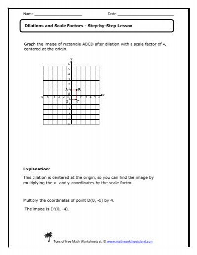Dilations Worksheet with Answers Dilations and Scale Factors Lesson Math Worksheets Land