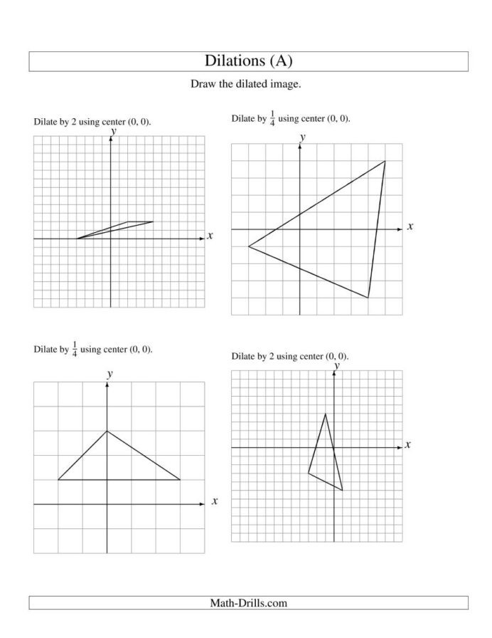 Dilations Worksheet with Answers Dilations Old Version Dilation Math Worksheets with Answers