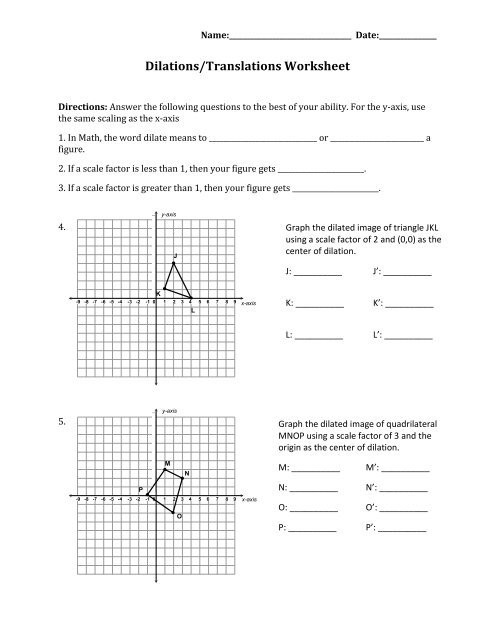 Dilations Worksheet with Answers Dilations Translations Worksheet Answers Worksheet List