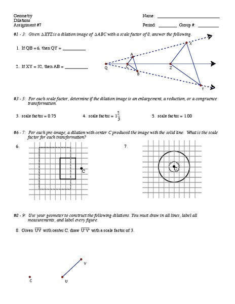 Dilations Worksheet with Answers Dilations Worksheet for 9th 12th Grade