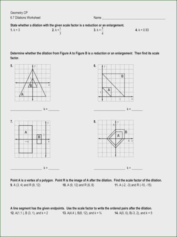 Dilations Worksheet with Answers Geometry Dilation Worksheet Pdf Promotiontablecovers