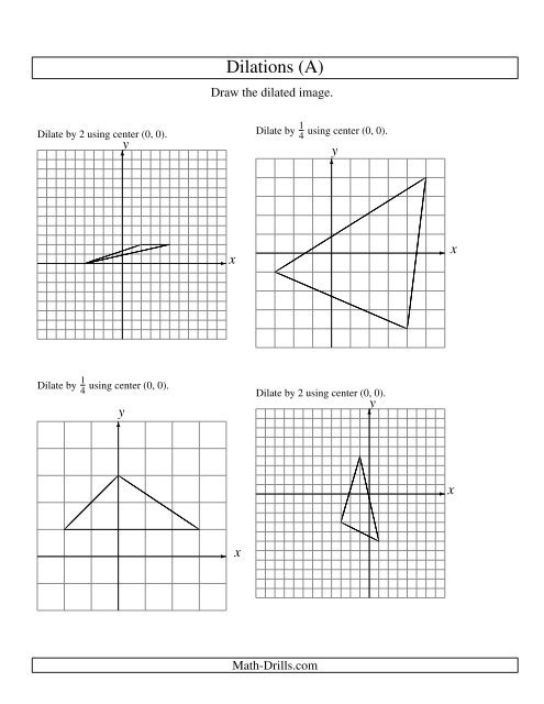 Dilations Worksheet with Answers Geometry Worksheet Dilations Using Center Dilation Math