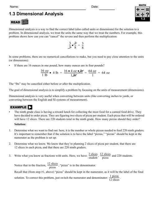 Dimensional Analysis Worksheet Answers 1 3 Dimensional Analysis Cpo Science