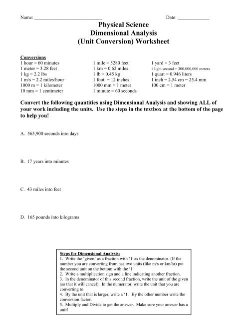 Dimensional Analysis Worksheet Answers Physical Science Dimensional Analysis Unit Conversion