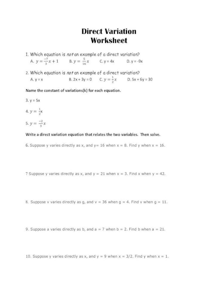 Direct and Inverse Variation Worksheet 4 4 2 Direct Variation anderson School District Five