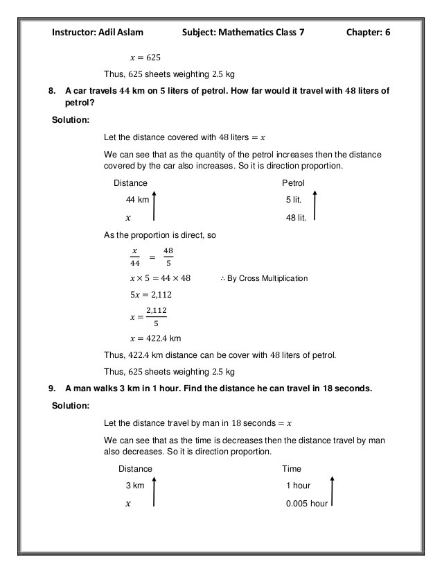 Direct and Inverse Variation Worksheet Countdown Class 7th Mathematics Chapter 6