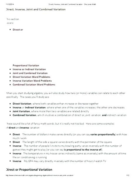 Direct Variation Worksheet Answers Direct Inverse and Joint Variation Worksheet