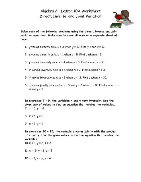 algebra 2 a lesson 10a worksheet direct inverse and joint variation