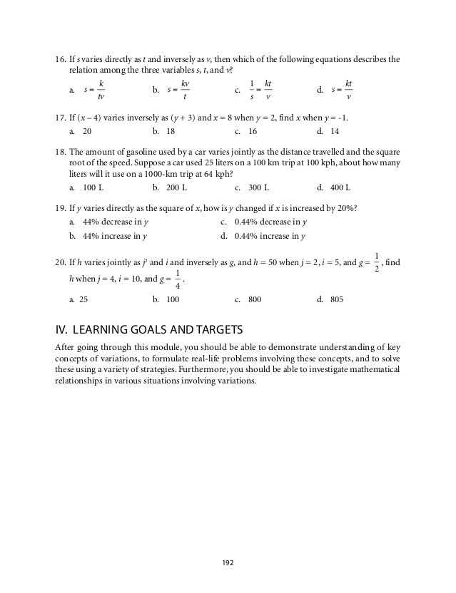 Direct Variation Worksheet with Answers Direct Inverse and Joint Variation Worksheet Answers 13 20