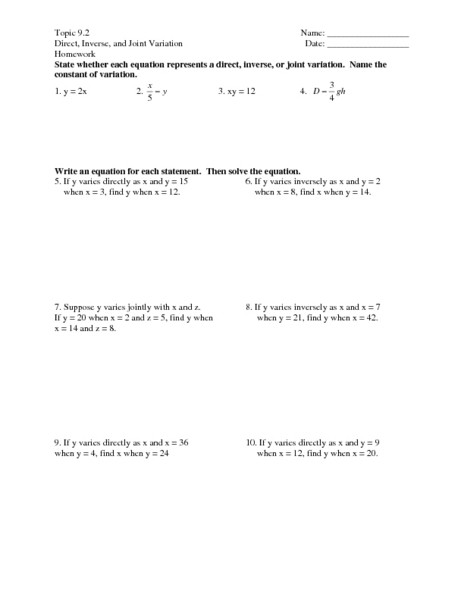 Direct Variation Worksheet with Answers Direct Inverse and Joint Variation Worksheet with Answers لم