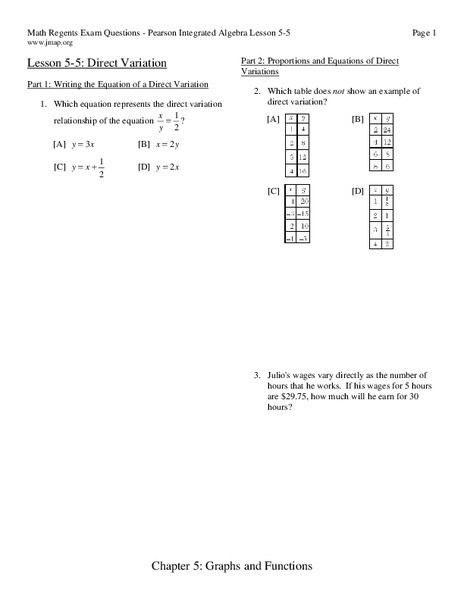 Direct Variation Worksheet with Answers Direct Variation Worksheet for 9th 11th Grade