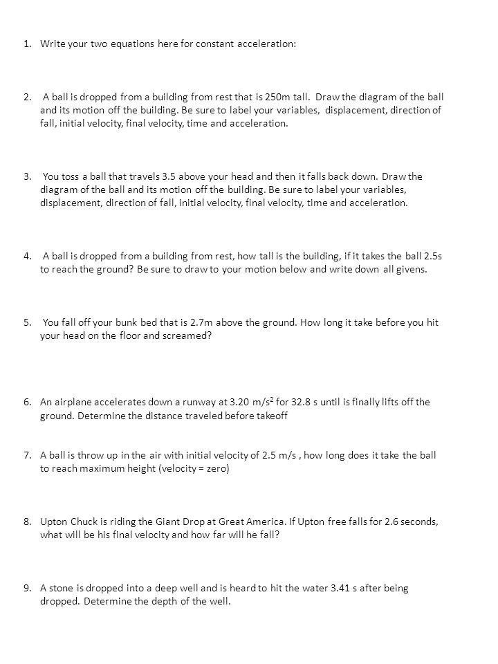 Displacement and Velocity Worksheet Free Fall and the Acceleration Of Gravity Worksheet Ppt
