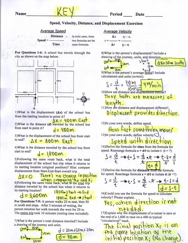 Displacement and Velocity Worksheet Key Speed Velocity Distance and Displacement Exercises