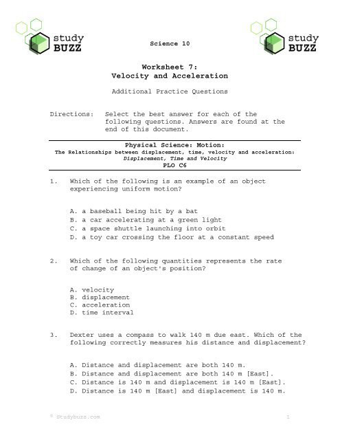 Displacement and Velocity Worksheet Velocity Worksheet 07
