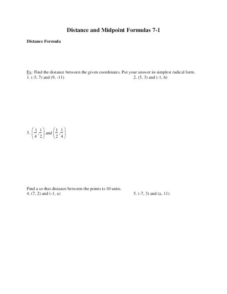 Distance and Midpoint Worksheet Distance and Midpoint formulas Worksheet for 9th Grade