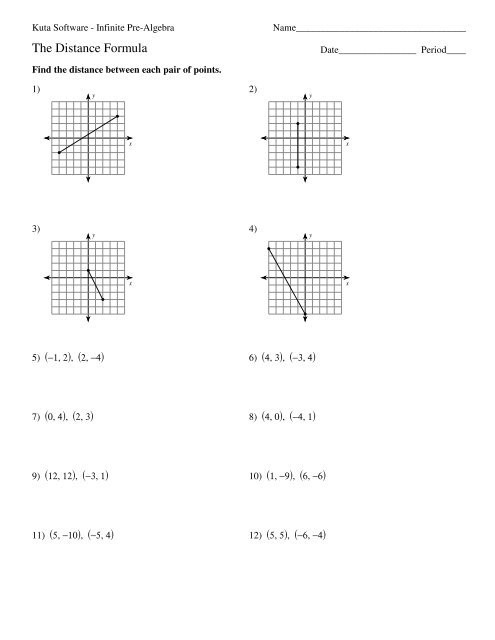Distance and Midpoint Worksheet Distance formula Kuta software