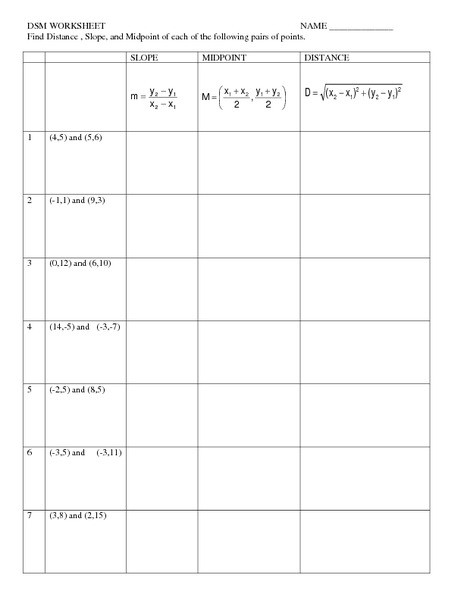 Distance and Midpoint Worksheet Distance Slope and Midpoint Worksheet for 9th Grade